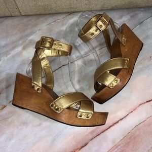 Tory Burch Gold Risley Wooden Platform Sandals